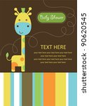 Stock vector cute baby shower card with cute giraffe vector illustration 90620545
