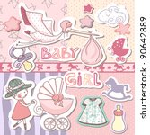 baby girl scrapbook set | Shutterstock .eps vector #90642889