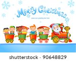 Christmas Train With Happy Kids