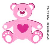Pink Applique Bear. Isolated On ...