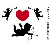 silhouette cupid and musician... | Shutterstock .eps vector #9066463