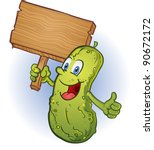 pickle holding a sign cartoon... | Shutterstock .eps vector #90672172