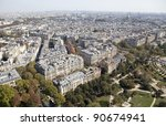 View of Paris from the Eiffel Tower - stock photo