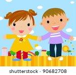 boy and girl | Shutterstock .eps vector #90682708