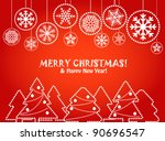 christmas greeting card with... | Shutterstock .eps vector #90696547