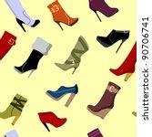 seamless pattern of women boots | Shutterstock .eps vector #90706741