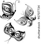 butterfly set | Shutterstock .eps vector #90707734