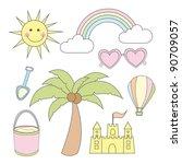 summer cartoons elements over... | Shutterstock .eps vector #90709057