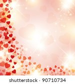 Valentine day background with red drapery and stars - stock vector