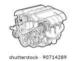 vector illustration of a engine ... | Shutterstock .eps vector #90714289