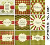 vector set of christmas vintage ... | Shutterstock .eps vector #90715054
