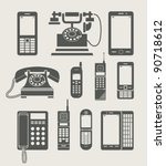 phone set simple icon vector... | Shutterstock .eps vector #90718612