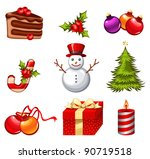 christmas icon set | Shutterstock .eps vector #90719518
