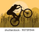 Mountain bike trial rider in wild nature landscape background illustration - stock vector