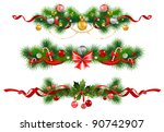 christmas decoration with ... | Shutterstock .eps vector #90742907