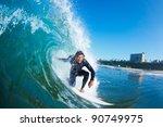 surfer on blue ocean wave   Shutterstock . vector #90749975