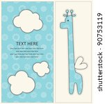 Stock vector baby boy announcement card with cute giraffe vector illustration 90753119