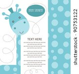 baby shower with cute blue... | Shutterstock .eps vector #90753122