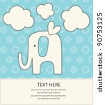 baby boy announcement card with cute elephant. vector illustration - stock vector