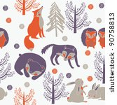 winter forest with cute animals | Shutterstock .eps vector #90758813