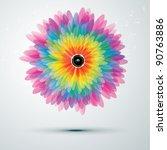 big rainbow flower with golden... | Shutterstock .eps vector #90763886