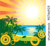 sun beach and sea vector | Shutterstock . vector #90766925