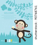 baby shower with fun monkey.... | Shutterstock .eps vector #90768761