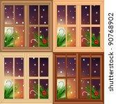 vector set of christmas windows | Shutterstock .eps vector #90768902