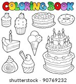 coloring book various cakes 1   ... | Shutterstock .eps vector #90769232