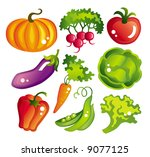 set of vector food   vegetables | Shutterstock .eps vector #9077125