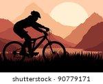 Mountain bike rider in wild nature landscape background illustration - stock vector