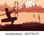 Kite boarder in skyscraper city landscape background illustration - stock vector