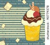 ice cream on striped background ... | Shutterstock .eps vector #90779378