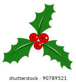 Holly berry - symbol of Christmas over white. Vector illustration - stock vector