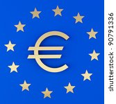 euro sign and the stars on a... | Shutterstock . vector #90791336