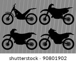 Motocross motorcycle illustration collection background - stock vector