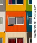 colorful student housing in stacked transport containers - stock photo
