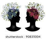 two female profiles with retro... | Shutterstock .eps vector #90835004