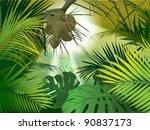 green jungle undergrowth ... | Shutterstock .eps vector #90837173