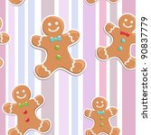 Cute Gingerbread Man Seamless...