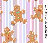 Cute Gingerbread Man Seamless...