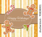 cute christmas card with... | Shutterstock .eps vector #90838001