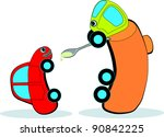 gasoline tanker feeds small car ... | Shutterstock .eps vector #90842225