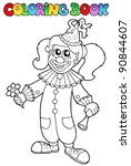 coloring book with happy clown... | Shutterstock .eps vector #90844607