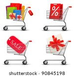 collection of shopping carts... | Shutterstock .eps vector #90845198