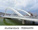 white modern bridge crossing a... | Shutterstock . vector #90846494