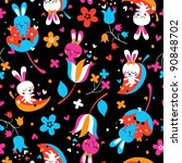love bunnies pattern - stock vector