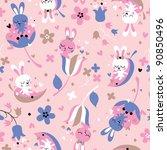 cute love bunnies pattern - stock vector