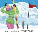 Beautiful Skier With Skis On...
