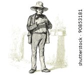 the gardener   vintage engraved ...   Shutterstock .eps vector #90853181